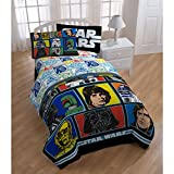 5 Piece Kids Blue Star Wars Theme Comforter Twin Set, Starwars Rogue 1 Imperial Trooper Bedding, Light Saber Death Star Darth Vader Luke Skywalker Yoda Movie Series Character Plush, Polyester