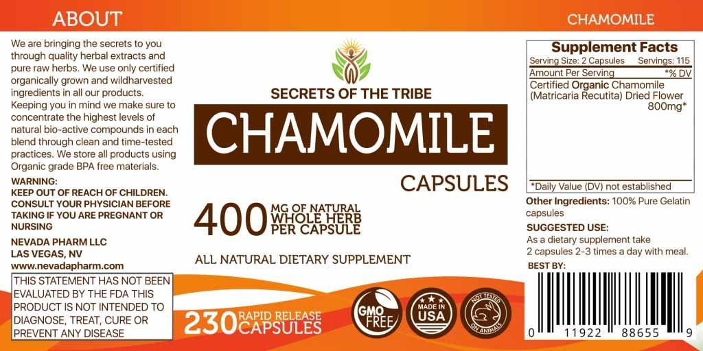 Chamomile 230 Capsules, 400 mg, Organic Chamomile Matricaria Recutita Dried Flower 230 Capsules