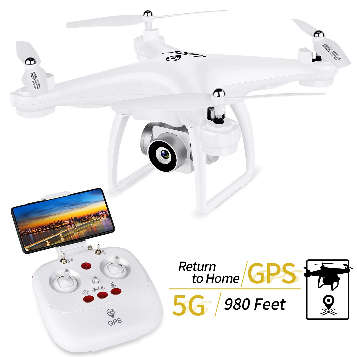 GPS Return Home Drone, JJRC H68G RC Drone with 720P HD Camera Live Video 120° Wide-Angle 5G WiFi Quadcopter with 980ft Control Distances, Follow Me, Altitude Hold Headless Mode 3D Flips (White)