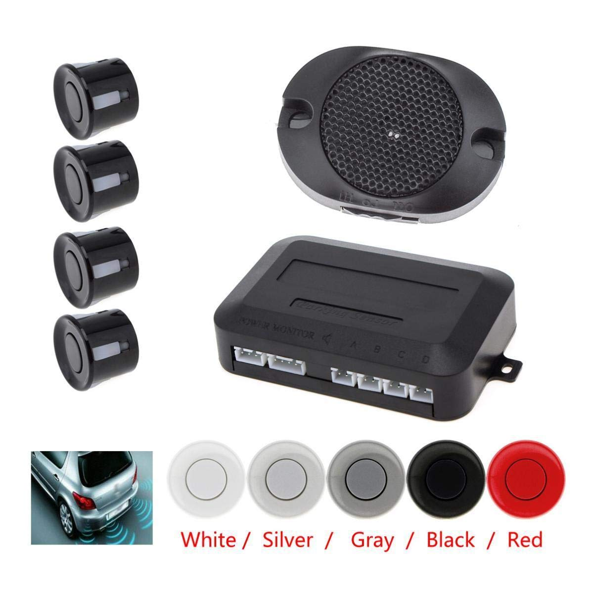 FidgetFidget 4 Sensors Waterproof Car Parking System with Audible Alarm & Back Car Assistant Red