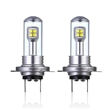 2 bombillas LED H7 de 40W para faros antiniebla de coche, diurnas, luz de conducción DRL 6000 K, 1500 lúmenes, faros LED para coche: Amazon.es: Coche y moto