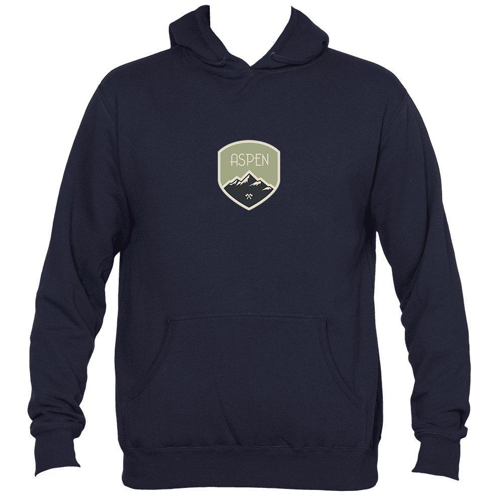 Aspen Mens Hooded Sweatshirt//Hoodie Colorado Mountaineering Badge