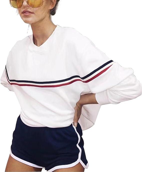 Blanco Rosa Sudaderas Mujer Largas Tumblr Invierno Raya Basicas Moda Sweatshirt Suéter Oversize