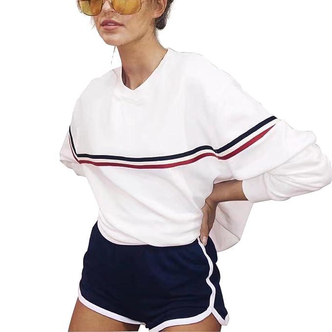 Blancas Sudaderas Mujer Largas Tumblr Invierno Deportes Basicas Moda Suéter (Blanco, L)
