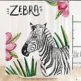 zebra fabric shower curtain - Orange Design Watercolor Zebra Shower Curtain with Hooks 71''x71'' Tropical Leaves Pink Flowers Black White Animal, Mildew Resistant Fabric Kids Children Home Bathroom Decor Accessories