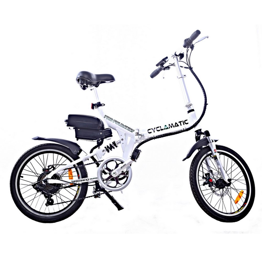 Cyclamatic Pro Cx4 Dual Suspension Foldaway Electric Bike White Co Uk Sports Outdoors