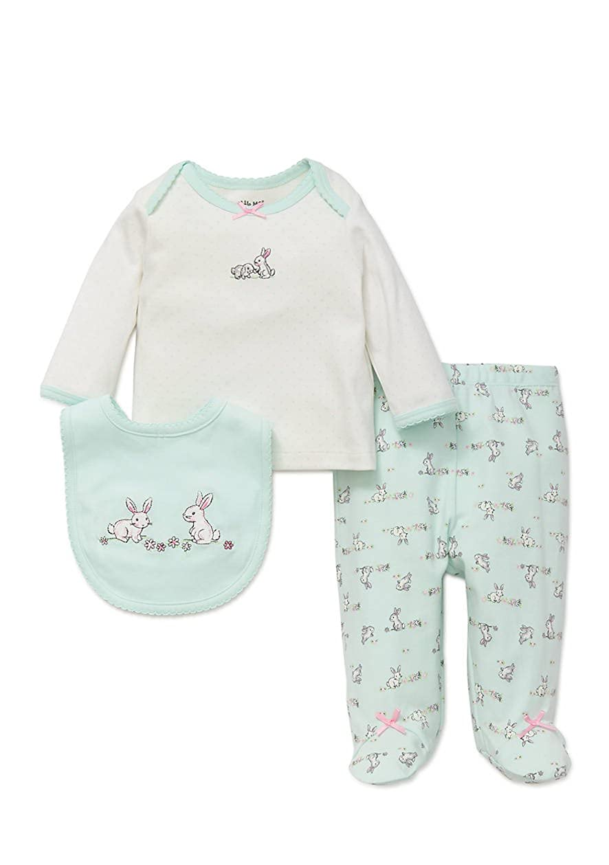 and Bib 3pc Set Little Me Cute Baby Bunnies Footed Pants Top