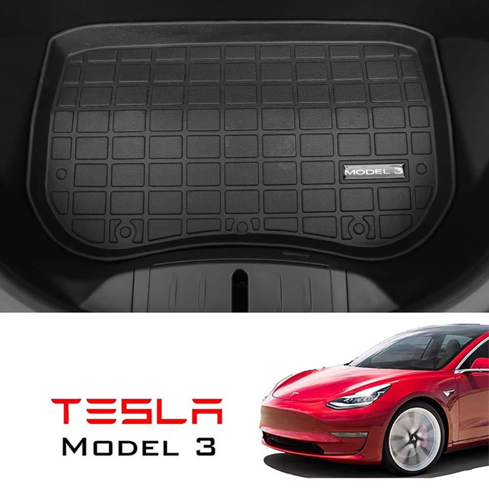 Appositamente Progettato per Il Tesla Model 3,BackStorageMat Protezione per Tappetino per Bagagliaio Resistente Inodore CHHMAELOVE Set di Tappetini Cargo in Gomma per Tesla Model 3
