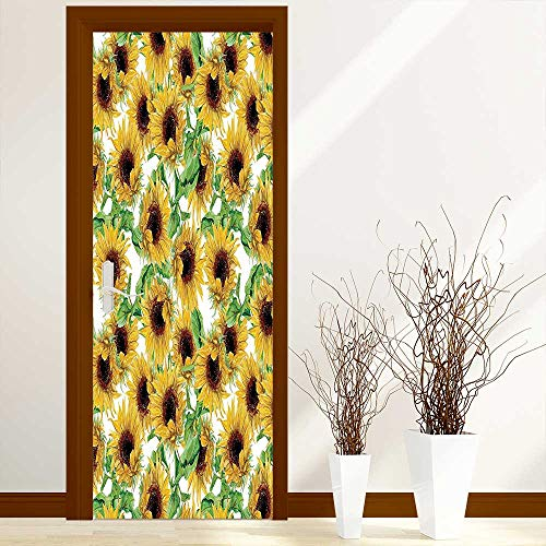L-QN Art Door Decals Collection Dried Sunflowers Illustration Wildflowers Branch Herbarium Artistic Design Fine Art for Door/Bathroom/Office W30 x H80 inch