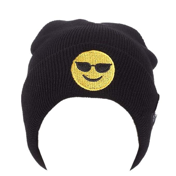 Kobay Emoji Emoticon Uomo Donna Largo in Lana Lavorato a Maglia Beanie Hat   Amazon.it  Abbigliamento 27d0bef543b8