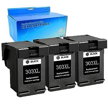 Ouguan® - 3 Cartuchos de Tinta Negra regenerados compatibles ...