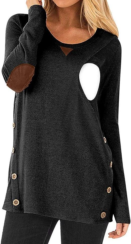 Yesmile Ropa para Premamá Lactancia Diseño en Capas con un Recorte Oculto Algodon Camisa de Maternidad Premamá Mujeres Embarazadas: Amazon.es: Ropa y accesorios