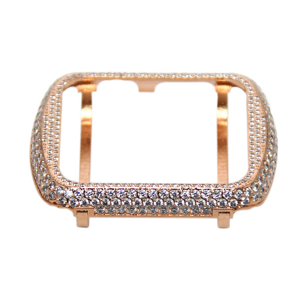 YALTOL for Iwatch/Apple Watch Series 4/3/2/1 Protection Frame with Rhinestone Diamond Metal Case Bezel,40mm,44mm,38mm,42mm,Rosegold,38mm