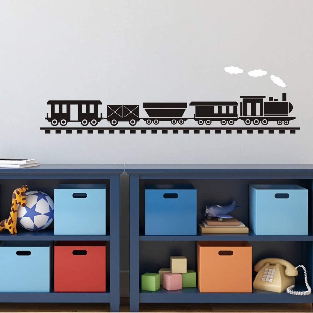 FlyWallD Boy Playroom Wall Decal Baby Room Train Sticker Nursery Vinyl Art Decor