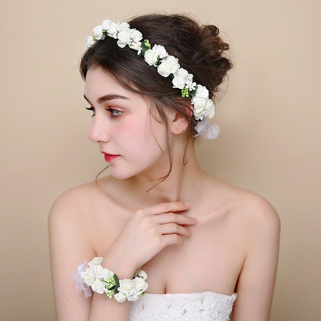 Wreath Flower, Headband Flower Garland Handmade Wedding Bride Party Ribbon Headband Wristband Hairband -White (Color : White)
