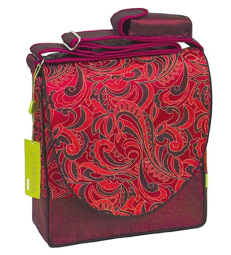 I Frogee Dark Red Leaves Pattern Brocade Diaper Bags 12x12x4