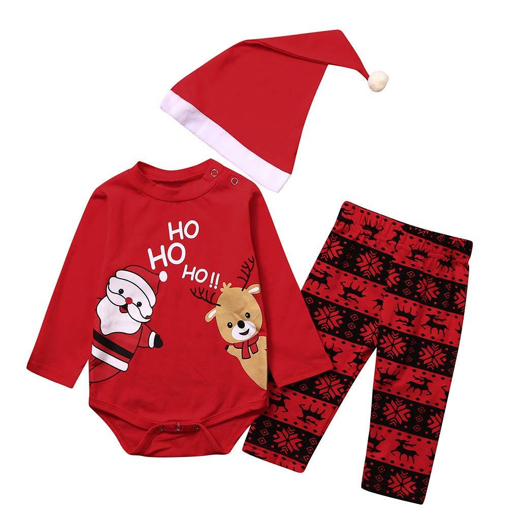 Dessin Anim/é Impression Pantalons 3-18 Mois Chapeau Costume AIORNIY B/éb/é De no/ël Costume Trois Pi/èces,Le P/ère No/ël Et Fauve Impression Romper Coverall