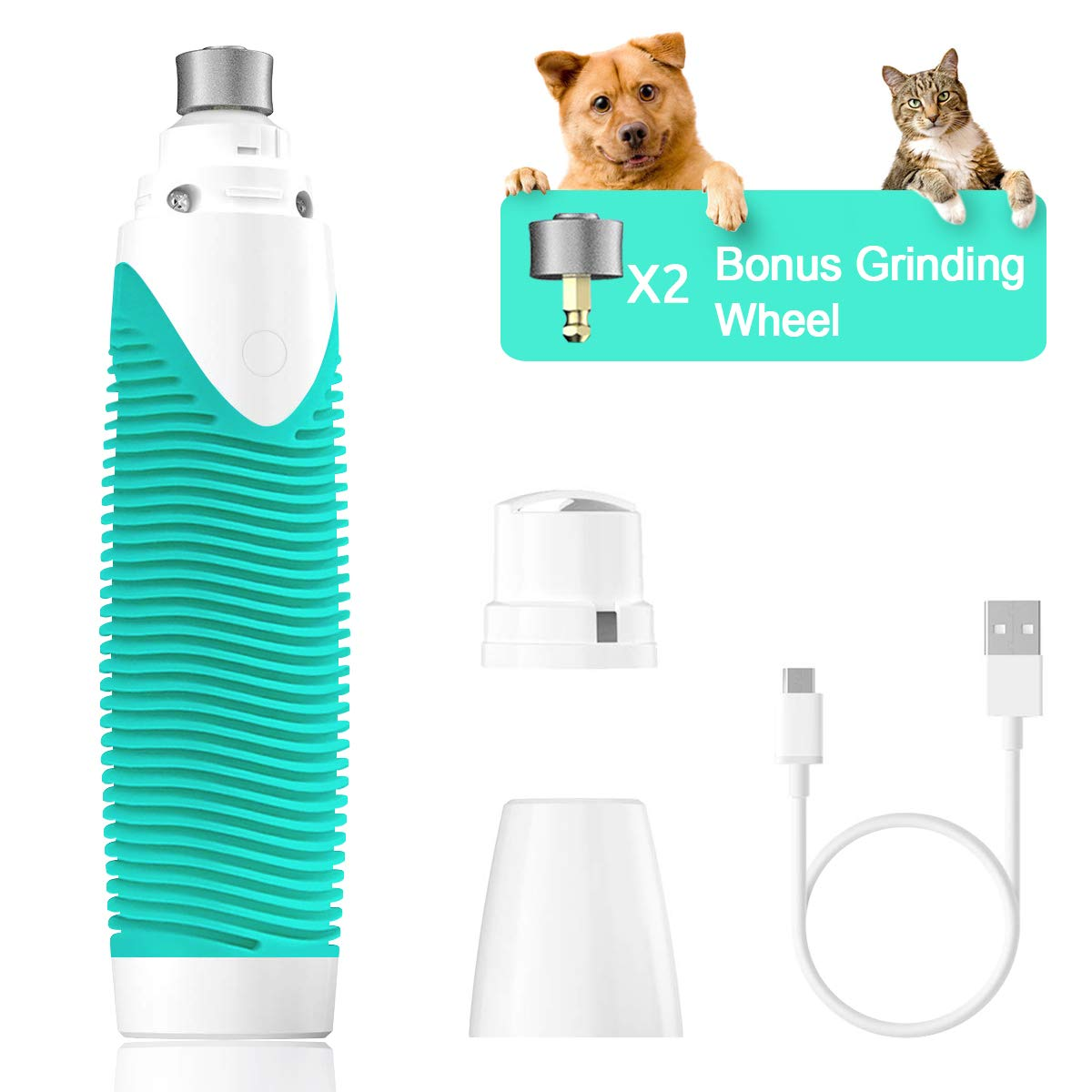 Pet Nail Grinder Electric Paw Trimmer Clipper for Gentle Paw Grooming Trimming Shaping Smoothing Rechargeable for Dogs Cats with Dog Nail Clippers Nail