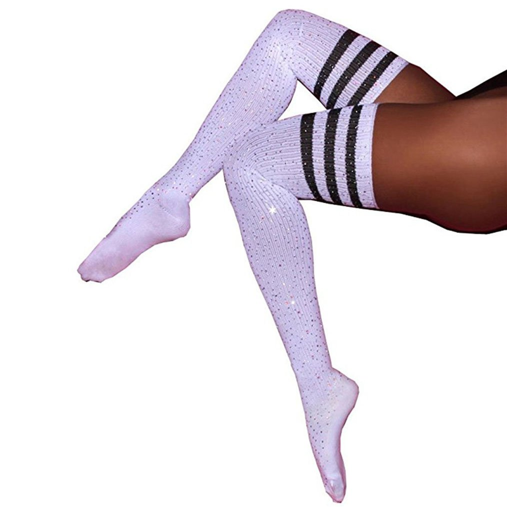 Womens Sparkle Rhinestone Stocking Sexy Thigh High Socks Over Knee High Stocking