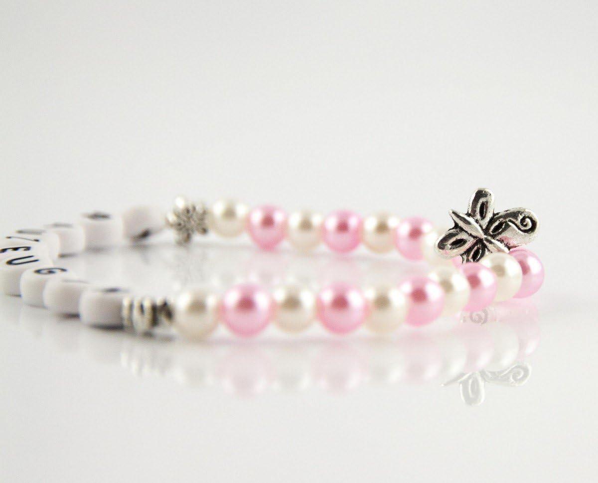 Perlenarmkettchen Trauzeugin Blumenedition Farbe Kettchen:Rosa//wei/ß
