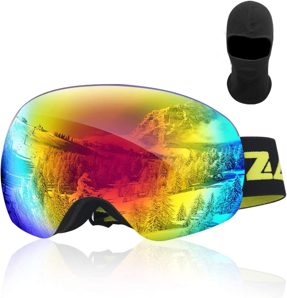 Zacro Ski Goggles -Large Spherical Framless Snowboard Goggles for Men and Women,OTG Double Lens Goggles for Skiing Snowboarding, Snowmobile, 100 UV400 Protection and Anti-fogging
