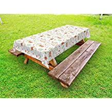 Lunarable Floral Outdoor Tablecloth, Blooming Bunches of Leafy Wildflowers in Soft Colors Delicate Spring Flora Theme, Decorative Washable Picnic Table Cloth, 58 X 84 Inches, Multicolor