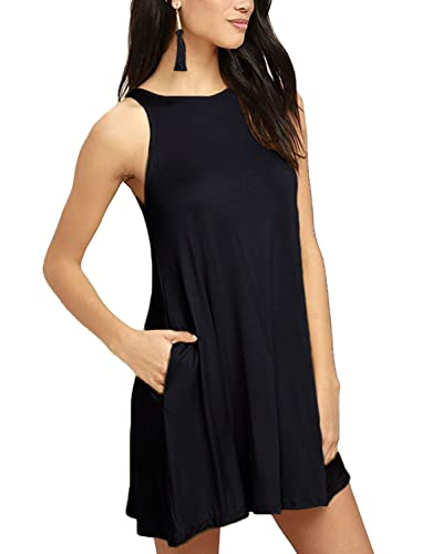 Women's Sleeveless Dress Pockets Casual Swing T-shirt Dresses
