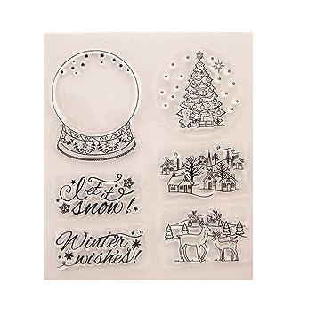 Amazon Com Seaskyer Halloween Christmas Theme Clear Stamps For Diy