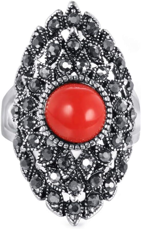 HQLCX Anillos de piedra para mujer, plata envejecida, anillo de compromiso, joyería de cristal