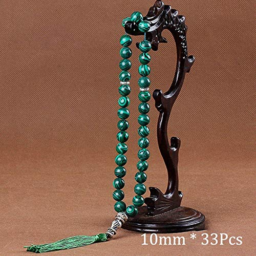 Gabcus 10mm Green Malachite Stone Bracelets Tassel Pendant 33 Prayer Beads  Islamic Muslim Tasbih Allah Mohammed Rosary for Women Men - (Metal Color: