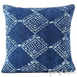 Eyes of India - 20'' Indigo Blue Block Print Dhurrie Sofa Decorative Pillow Throw Cushion Cover Floor Couch Indian Bohemian Colorful Boho SeatingCover Only