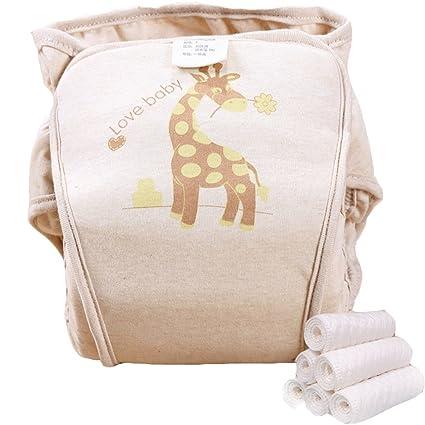 novogifts Baby Pañales de tela algodón orgánico, Wrap Hook and Loop Ajustable Reutilizable Lavable)