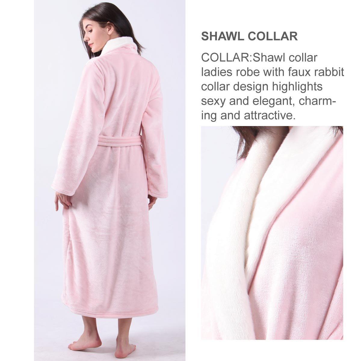 a78cdad124 Womens Fleece Flannel Plush Bathrobe