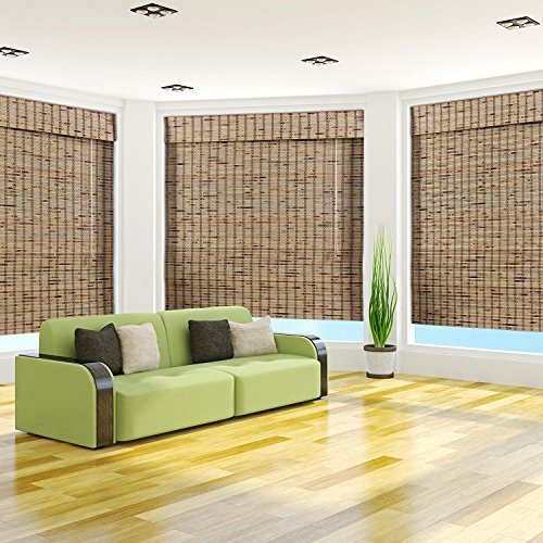 Arlo Blinds, Rustique Light Filtering Bamboo Roman Shade with Valance - Size: 38