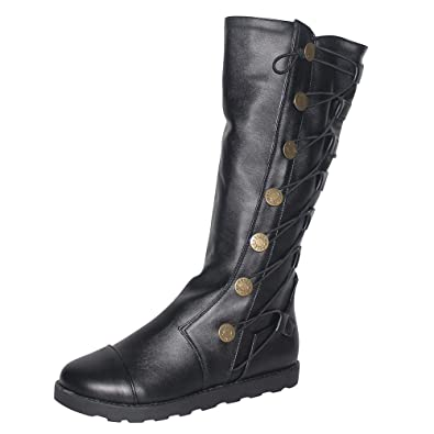 4317549827e HLHN Women Military Combat Boots Knee-High Roman Lace-Up Leather Flat  Martin Shoes