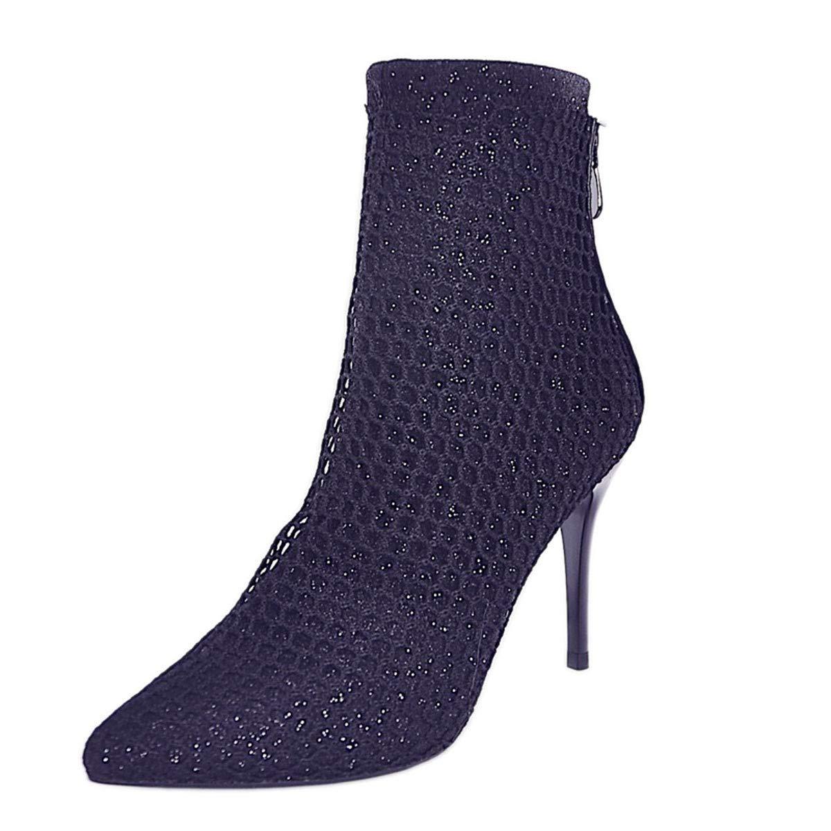GTVERNH Frauen Schuhe/Mode Mesh Hohl Sexy Kurze Stiefel Slim - Heels 9Cm High Heels Spitze Mode - Stiefel Damenschuhe