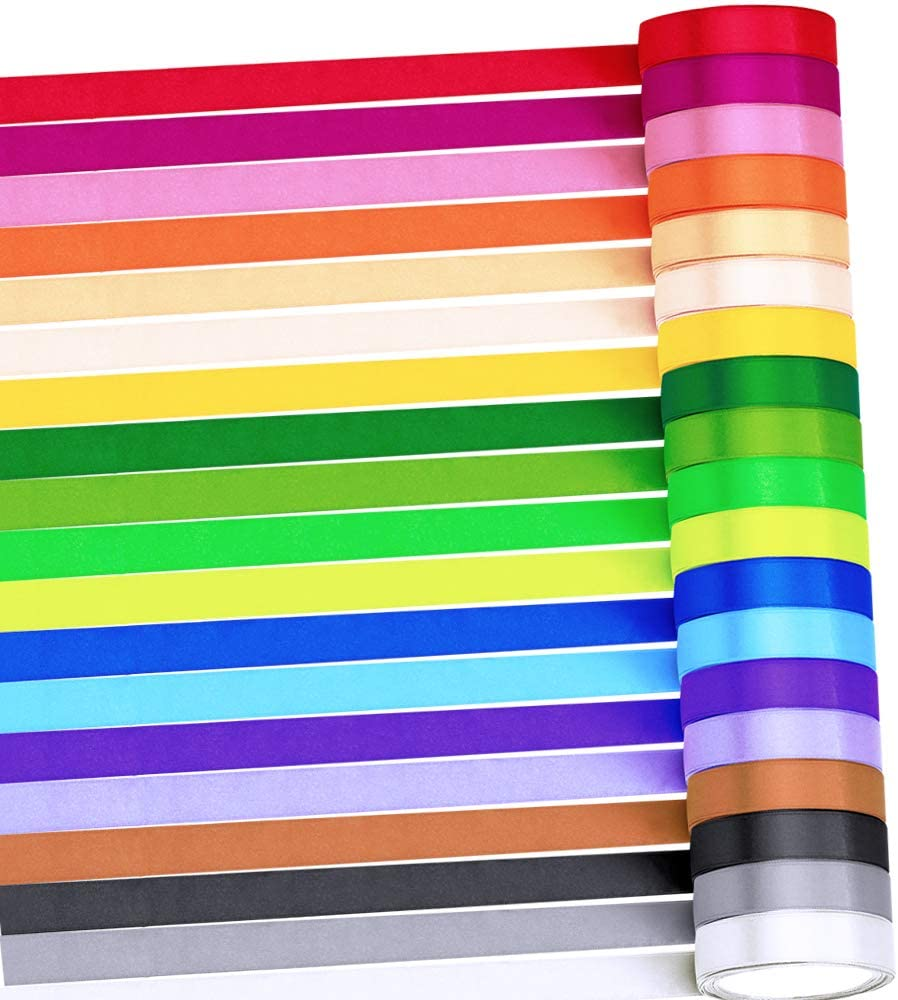 Supla 19 Rolls 19 Colors 190 Yard Satin Ribbon Rolls Satin Silk Ribbon for Crafts Gift Wrap Ribbons Fabric Ribbons Polyester Ribbon 1/2 inch Wide for Wedding Embellishment Gift Packing Craft Bows