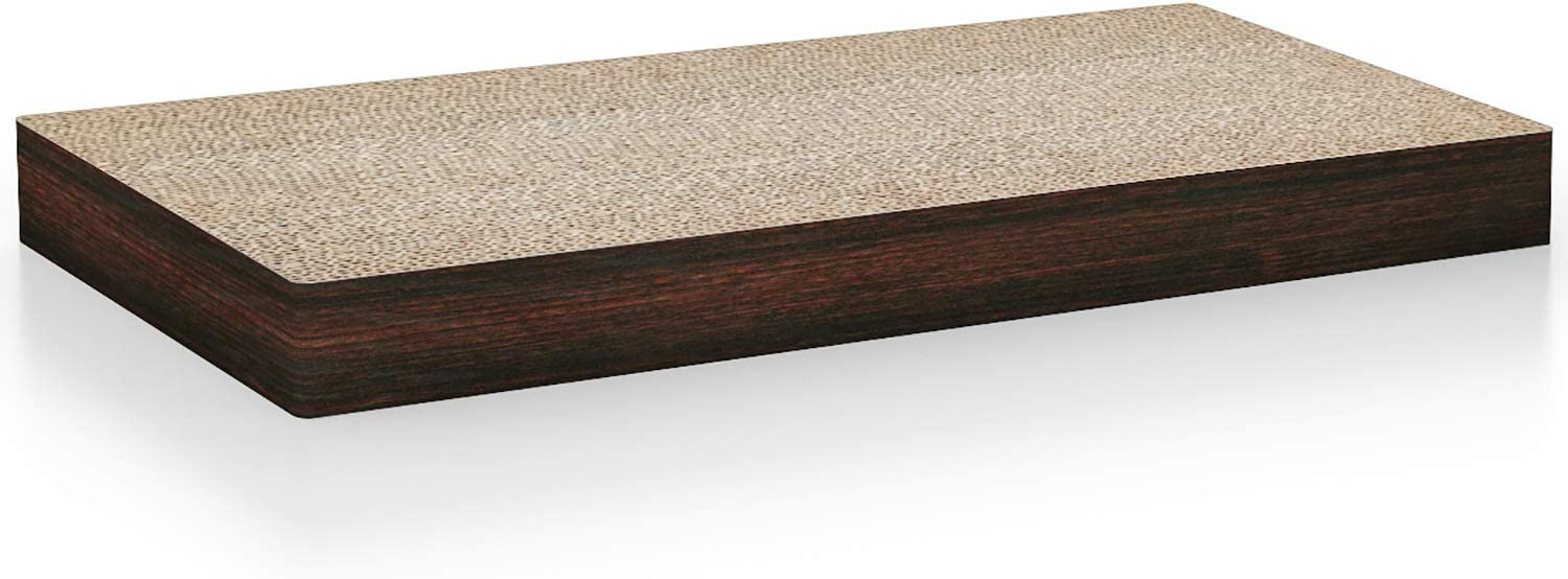 Way Basics Cat Scratcher Floating Wall Shelf (Uniquely Crafted from Sustainable Non Toxic zBoard Paperboard), Espresso