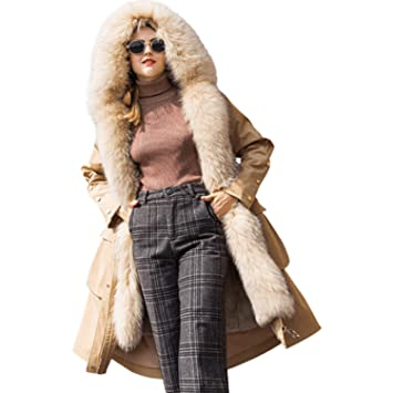 Huaishu Abrigo De Piel Caliente De La Mujer De Pelo De Imitación Capucha Parka Larga Chaqueta