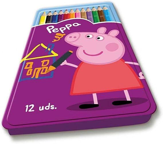 Estuche metálico 12 lápices de colores Peppa Pig: Amazon.es: Juguetes y juegos
