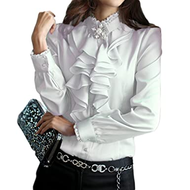 405781280a78 PT&Key Women's Ruffle Blouse Long Sleeve Front Deco High Neck Silky Satin  Dress Shirts Office Style at Amazon Women's Clothing store: