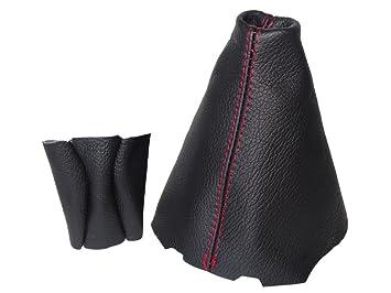 Schaltsack Schaltmanschette schwarz echtes Leder Naht Rot