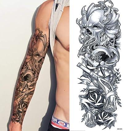 XXL Full Arm Tatuaje Temporal Calavera Reloj Gothic Diseño Arte corporal