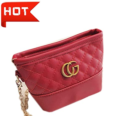 23b3a2266f Amazon.com  0 Degree Shoulder Bag Crossbody GG Style Purse for Girls  Quilted Little Girl Purses (Red)  Toys   Games