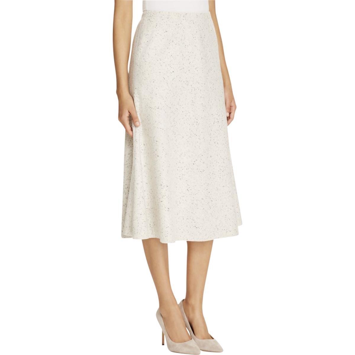 Lafayette 148 Womens Petites Woven Textured Tulip Skirt White P/S
