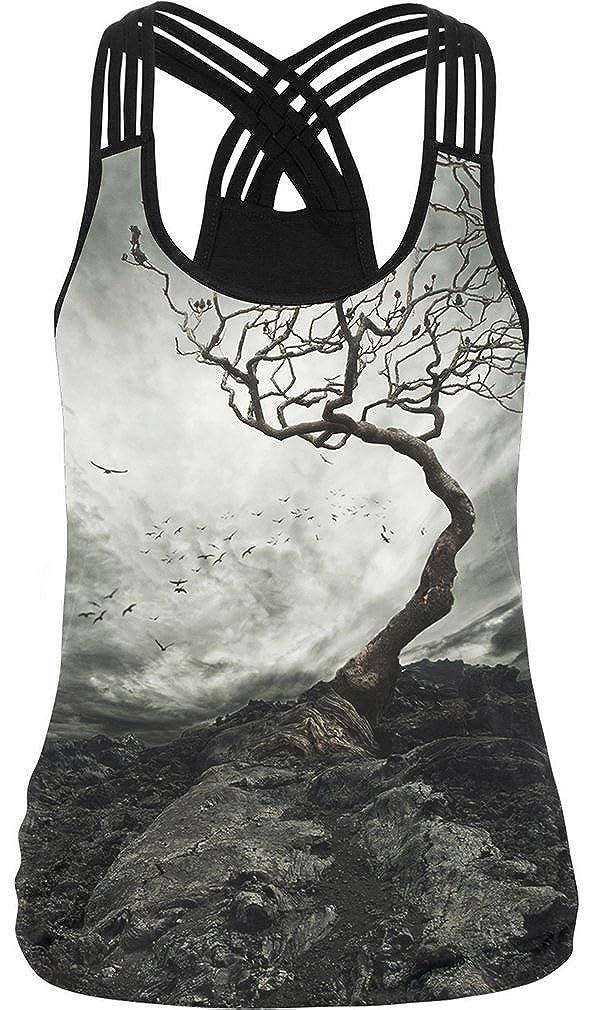Bettydom Damen Criss Cross Bunt 3D Print Racerback Sport Weste Cami Top T-Shirt
