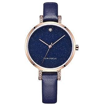 Lady watch MINI FOCUS Women s Quartz Dress Watch Star Watch with Blue  Leather Band Quartz Watch 9f7fec9d30