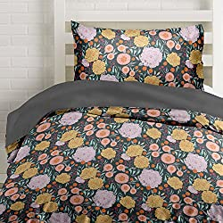 Vintage Floral on Gray Duvet Cover Twin Size Bedding, Grey with Pink, Seafoam Teal, Yellow and Coral Flowers