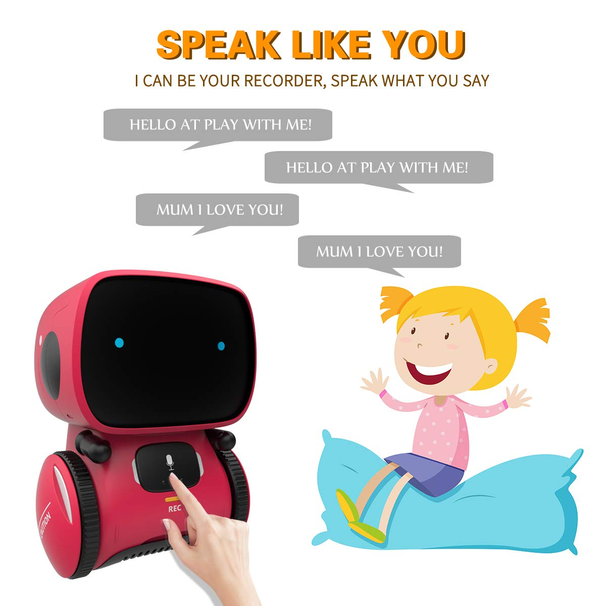 98K Kids Robot Toy, Smart Talking Robots, Gift for Boys and Girls Age 3+, Intelligent Partner and Teacher, with Voice Controlled and Touch Sensor, Singing, Dancing, Repeating by 98K (Image #4)