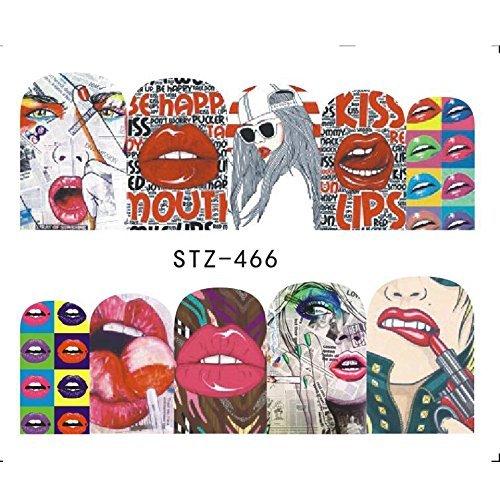 Kiss rockstar graffiti 1980s nail decals water transfer nail stickers Hippie rock red lips tattoo nail design anime manga acrylic nail accessories gothic nail vinyls French tip cosplay nail art